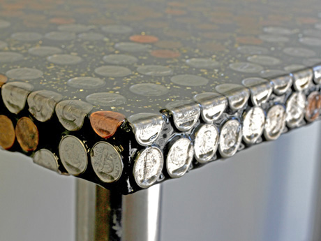 A Tabletop Covered With Coins And Layers Of Resin. Coin Table Detail